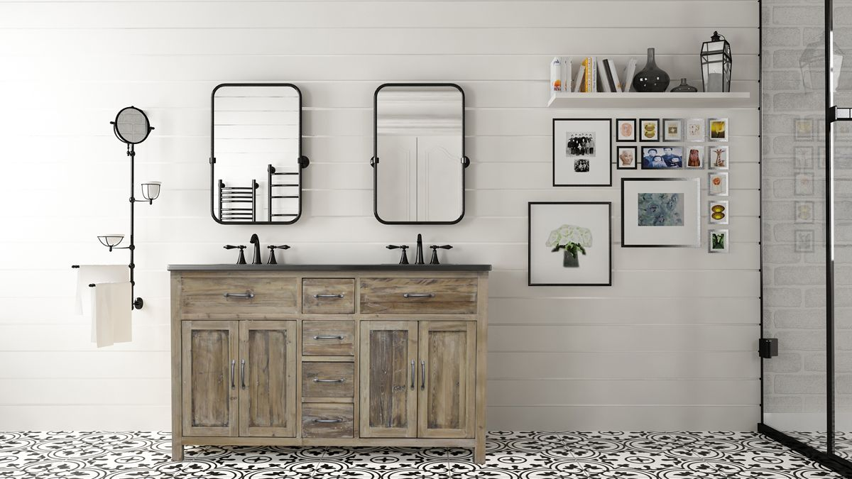 The Woodland Bluestone bathroom vanity offers a rustic and farm-style look to your home