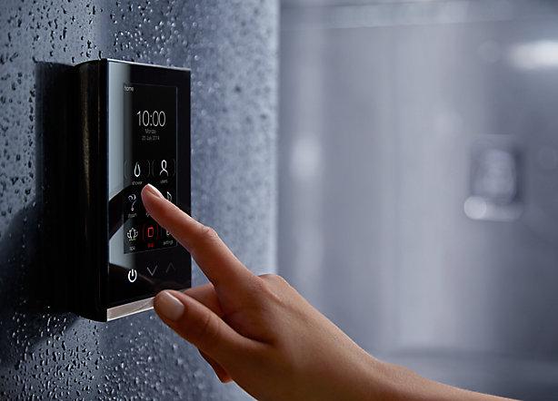 digital shower knob black futuristic bathroom trends 2018